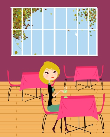 Fashion girl in cafe  Vector