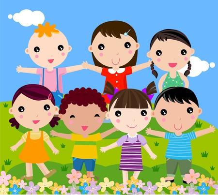 smile child: group of happy children