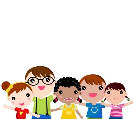 convivencia escolar: Grupo de niños felices