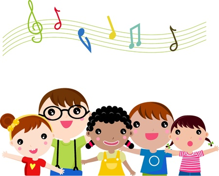 Niños cantando. ilustración.
