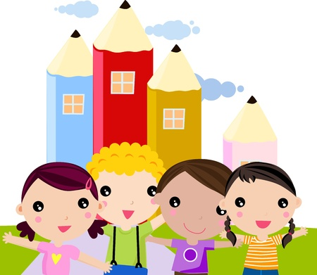 group of happy children Stock Vector - 9775370