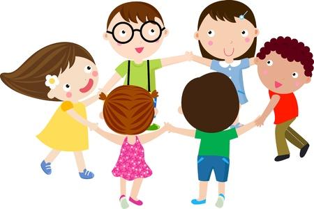 girotondo bambini: Bambini in cerchio Vettoriali