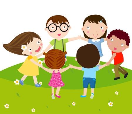 tanzen cartoon: Gruppe von Kindern