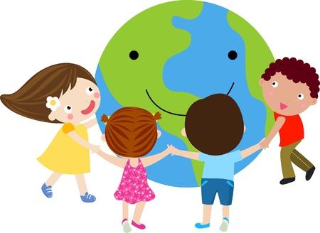 planeta tierra feliz: Unidad mundial  Vectores