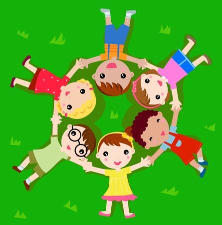 niños mentir hierba Vectores
