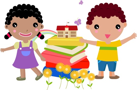 grade schooler: Kids and book Illustration