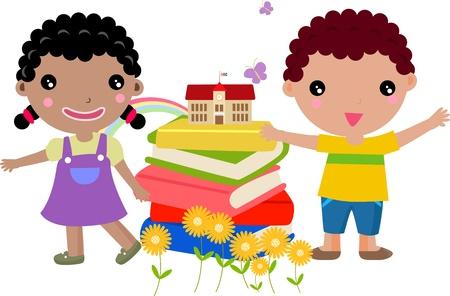 Niños y libro Ilustración de vector