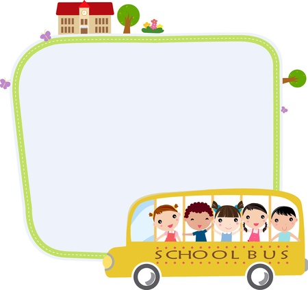 heading: a school bus heading to school with happy children and frame