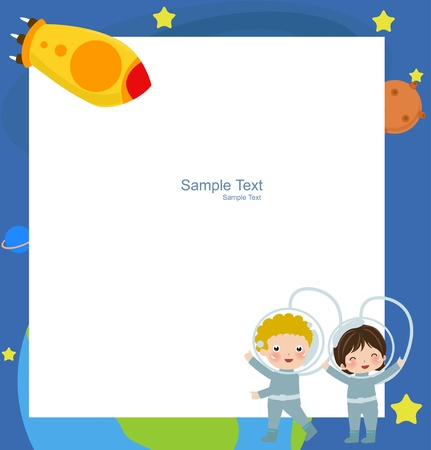 astronaut in space: Young astronaut  and frame Illustration