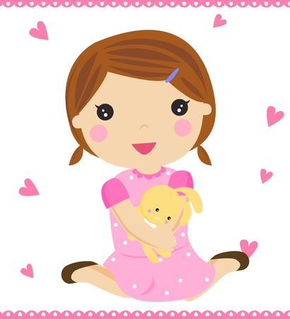 Cute girl with her toy  Vector