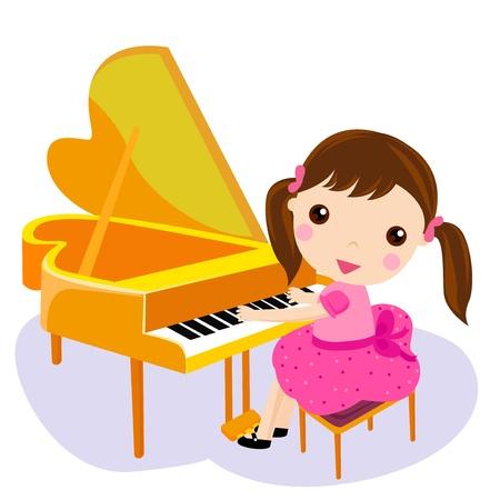 fortepian: Dziewczyna grać na pianinie. Ilustracja wektora kreskówki