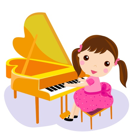 hands on keyboard: girl play the piano. cartoon vector illustration  Illustration