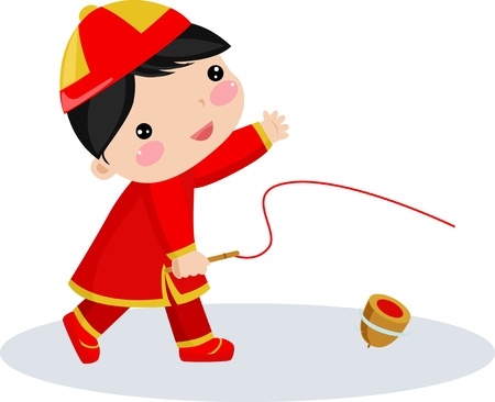 new year scroll: Chinese boy  Illustration