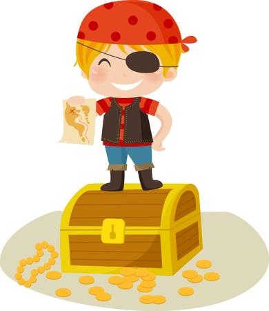 pirata: Ni�o pirata - Vector