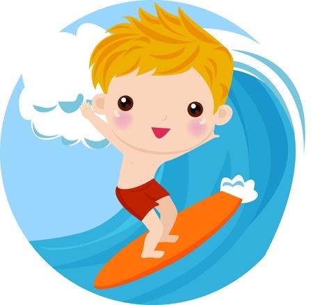 Boy Surfing Stock Vector - 9439417