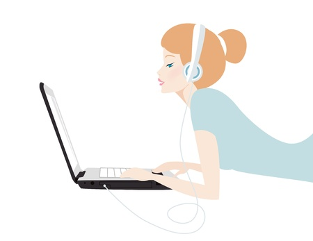 girl playing laptop  Stock Vector - 9765826