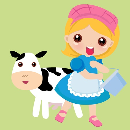 Stock Vector Illustration: A redhead girl milks a spotted cow
