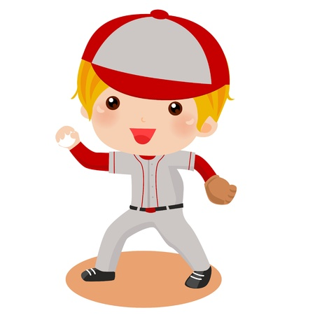 pitcher: a Kid throwing a baseball  Illustration