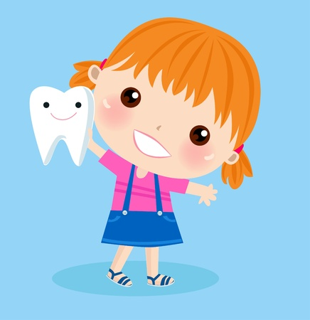 small blonde girl with tooth  Stock Vector - 9765824