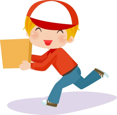 paper delivery person: Delivery boy with box - vector illustration.  Illustration