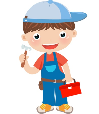implements: a boy with tool box on white background  Illustration