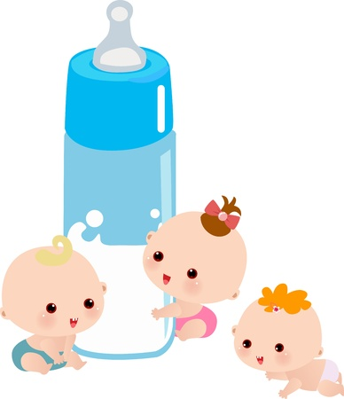 illustrated: Baby with a big milk bottle