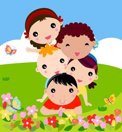 niños saludo: Grupo de niños