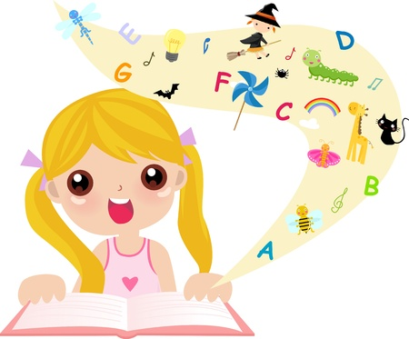 playtime: cute little girl reading book