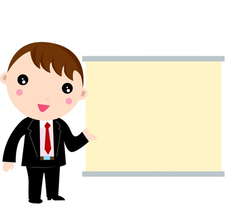 Speaking businessman pointing at blank placard Stock Vector - 9463429
