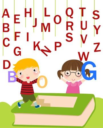 Children with alphabet.  Illustration