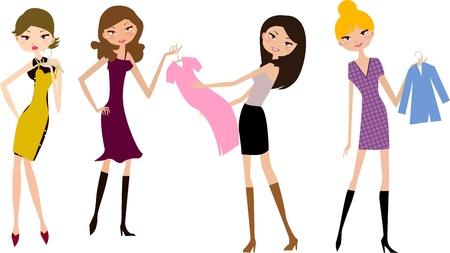 compras chica: cuatro tiendas girl  Vectores