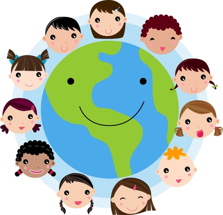 world group: Kid Faces United Around Earth Glove Illustration Vector  Illustration