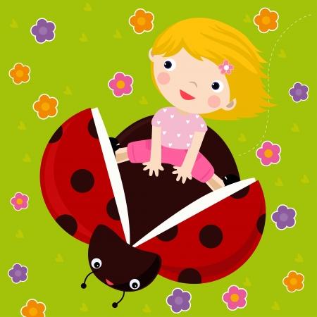 kid and ladybug Stock Vector - 16497395