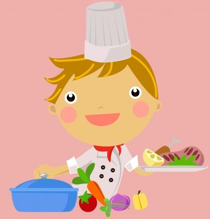設定台所キッチンだしたの笑みを浮かべて、シェフの帽子を着て小さな男の子  イラスト・ベクター素材