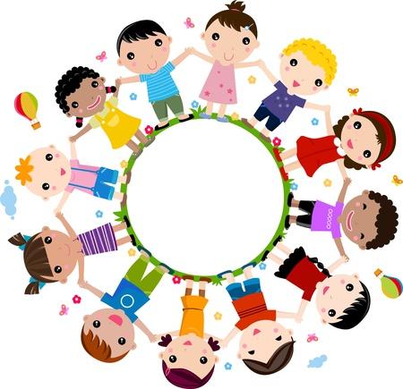 te negro: grupo de niños felices