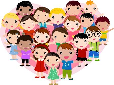 teamwork cartoon: boys and girls Illustration