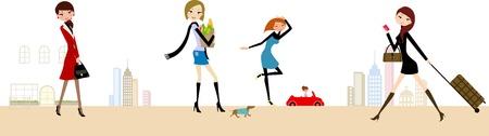 people traveling: fashion life Illustration