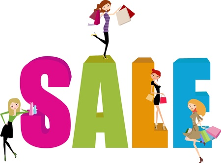 shopping girl and sale word Vector