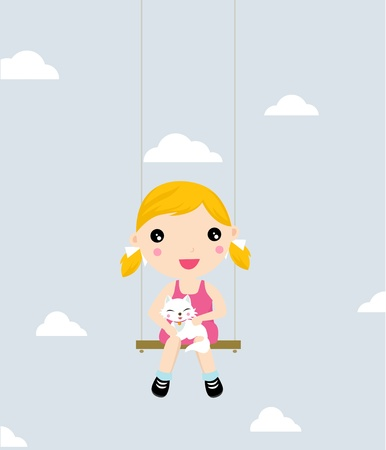 little girl and cat on a swing  矢量图像