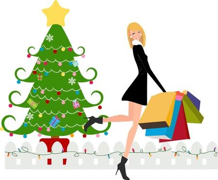 divas: Las compras de Navidad Vectores