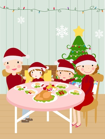family eating: family christmas dinner