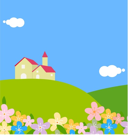 pastel colored: Villa on a hill