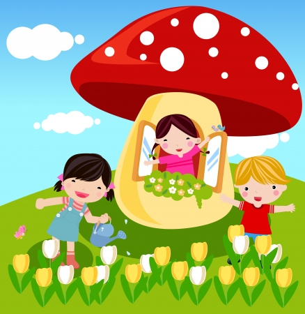cute mushrooms and kids  Vector