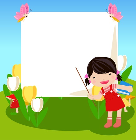 Kid and banner  Vector