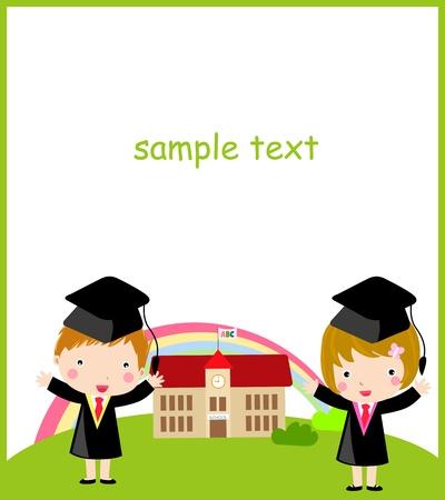 graduacion caricatura: Colegial y colegiala
