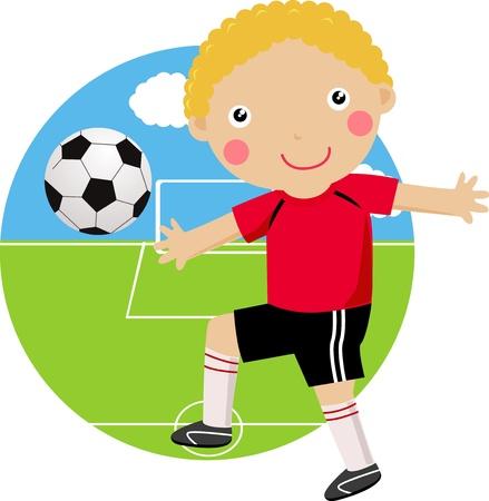 Boy Playing Football Stock Vector - 16497403