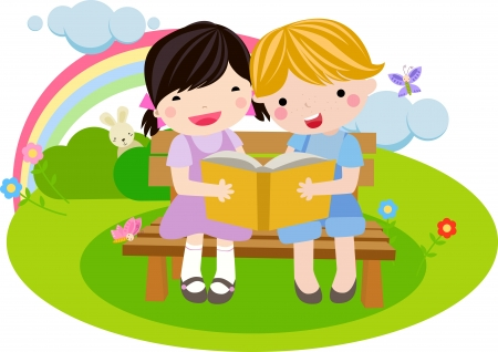 child of school age: Girl and boy reading the book  Illustration