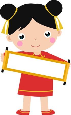 niños chinos: Greetings_Girl de Año Nuevo Vectores