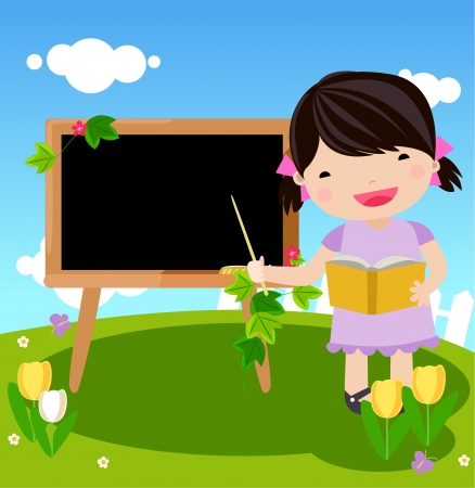 kid and blackboard Stock Vector - 16497401