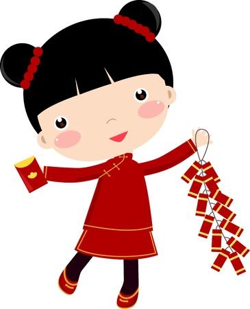bambini cinesi: Greetings_Girl Anno Nuovo Vettoriali